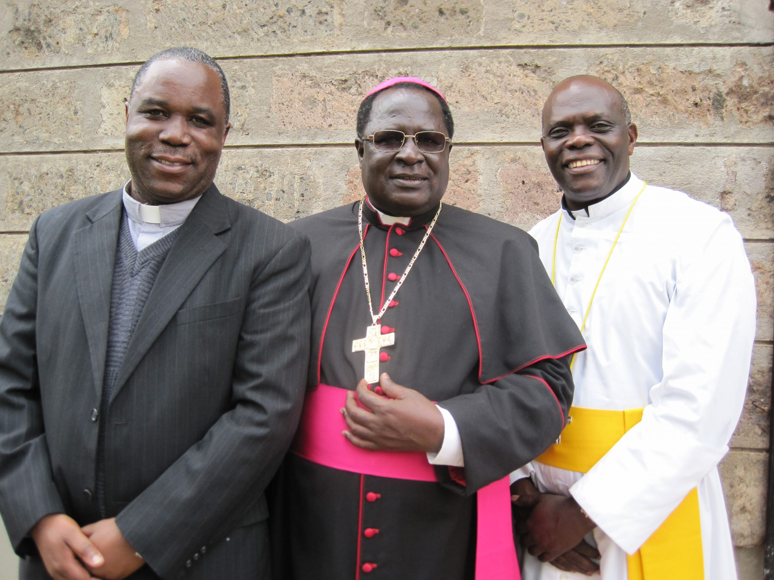 Archbishop Emmanuel Obbo, AJ (Center), Archbishop of the Roman Catholic Archdiocese of Tororo, with former superiors, Very Rev. Fr. Speratus Kamanzi, AJ (Left) & Very Rev. Fr. Silvester Arenaitwe, AJ (Right) , AJ | File Photo